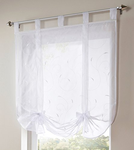 1pcs Floral Embroidered Tie-Up Roman Shades Tap Top LivebyCare Sheer Balcony Window Balloon Curtain Voile Drape Bowknot Drapery Valance Panels for Dinning Room Decor Decorative