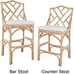 KOUBOO 1110091 Chippendale Rattan Counter Stool, Brown