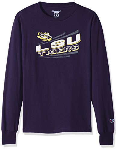 Champion NCAA LSU Tigers Youth Boys Long sleeve Jersey Tee, X-Large, Purple (Lsu Long Sleeve Shirts)