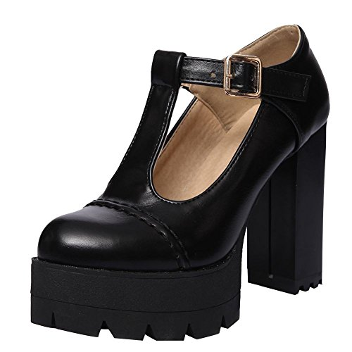 (Carolbar Women's T-Strap Retro Punk Lolita High Heel Platform Mary Janes Shoes (10,)