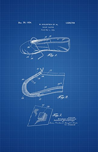 Framable Patent Art The Original Ready to Frame Décor Ballet Slipper Dance Shoe Footwear 24in by 36in Patent Art Poster Print Blueprint PAPMSP50B