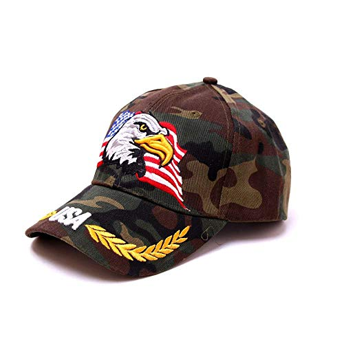 (Swyss Patriotic American Eagle and American Flag Baseball Cap USA 3D Embroidery Adjustable Trucker Dad Hat,Camouflage)