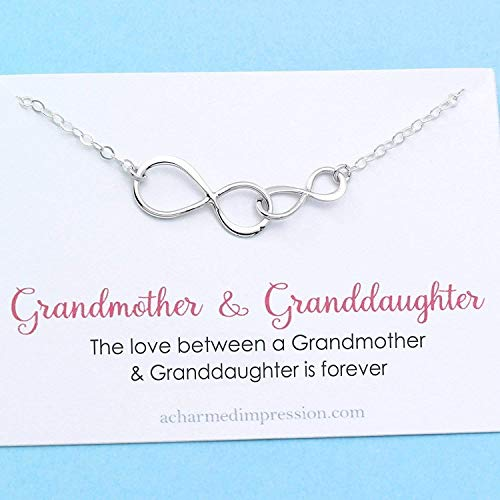 Grandmother & Granddaughter • Double Infinity Necklace • Unique Gift for Grandma • Infinite Love • Sterling Silver • Personalized Keepsake ()