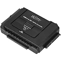 WEme USB 3.0 to SATA/IDE Adapter with Universal 2.5/3.5 Hard Drive Disk Converter for HDD/SSD & IDE HDD, Support 6TB and One-Touch Backup, Include 12V 2A Power Adapter + USB 3.0 Cable for Laptop