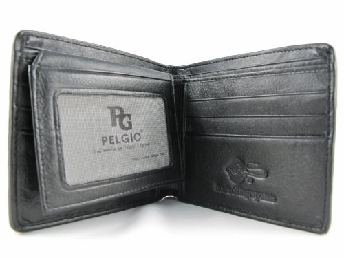 Skin PELGIO Leather Stingray Wallet PELGIO Genuine Black Bifold Genuine xq7zwnR