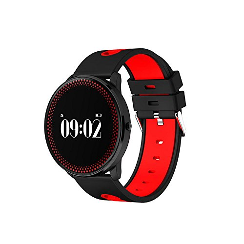 Auntwhale IP68 Waterproof Smart Watch Blueteeth, Android,IOS,Information Push, Heart Rate Blood Oxygen Monitoring, Pedometer, Calories, Sleep Monitoring - Red by Auntwhale