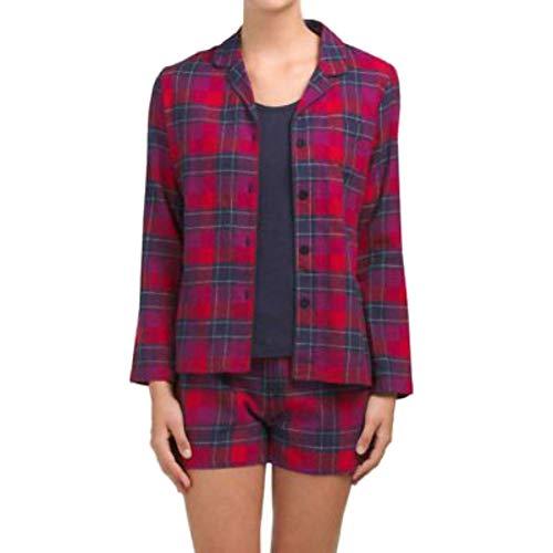 - Nautica Button Front Shirt, Tank Top & Boxers 3-Piece Pajama Set (Medium, Red Plaid / Navy)