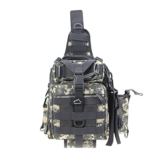 Hetto Tactical Sling Chest Pack Small Waterproof Nylon Fishing Tackle Bag MOLLE One Strap Crossbody Backpack Military Shoulder Bag with Water Bottle for Cycling Hunting Hiking Fishing Outdoor