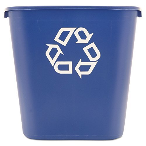 Rubbermaid 295673BE Medium Deskside Recycling Container, Rectangular, Plastic, 28.125qt, Blue ()