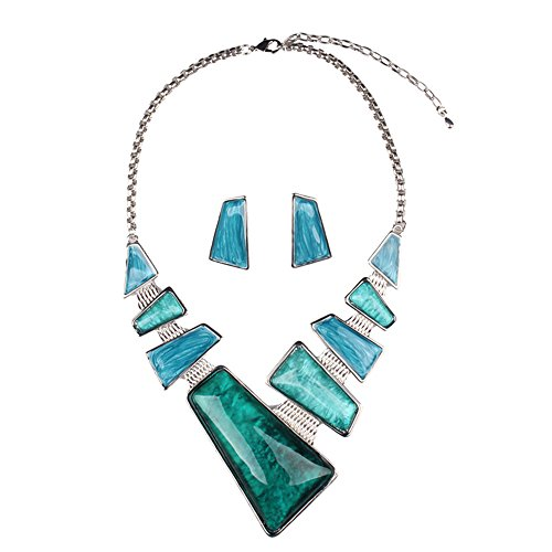 [Girl Era Vintage Costume Jewelry Chunky Resin Charm Link Necklace & Earring Set for Womens(blue)] (Costume Jewelry Diamond Rings)