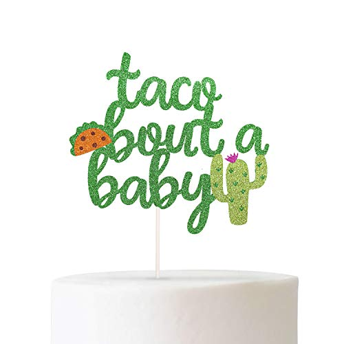 Taco Tout a Baby Cactus Cacti Cake Topper Green Glitter Fiesta Festive Party Supplies Baby Shower Decor