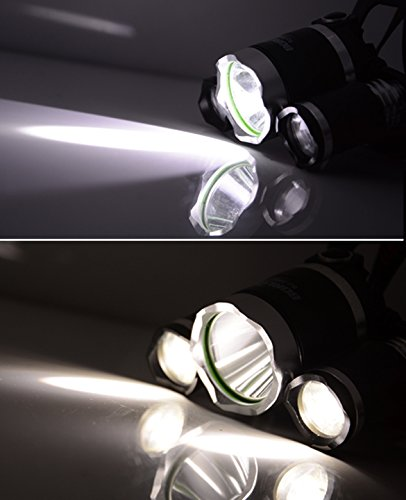 Ancheer LED Bright 5000 Lumen Waterproof 4 Modes Headlamp Flashlight with 2 Rechargeable ...