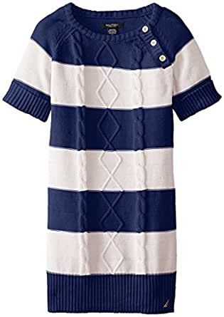 Nautica Little Girls' Striped Cable Knit Dress with Gold Buttons, Beige Heather, 4