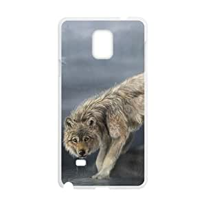 wolf drinking water painting Samsung Galaxy Note 4 Cell Phone Case White yyfD-217560