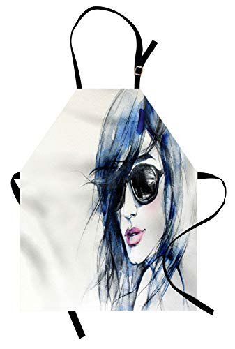 Ambesonne Urban Apron, Woman with Sunglasses and Blue Hair Hand Drawn Art Watercolor Portrait, Unisex Kitchen Bib with Adjustable Neck for Cooking Gardening, Adult Size, Coconut ()