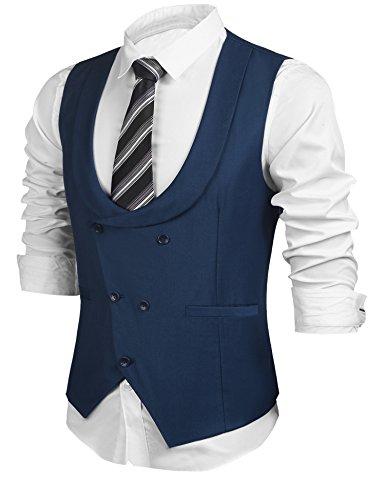 HOTOUCH Men's Smart Suit Waistcoat Designed U-neck Sleeveless Casual Slim Fit Skinny Dress Vest (Blue (Smart Classic Suit)