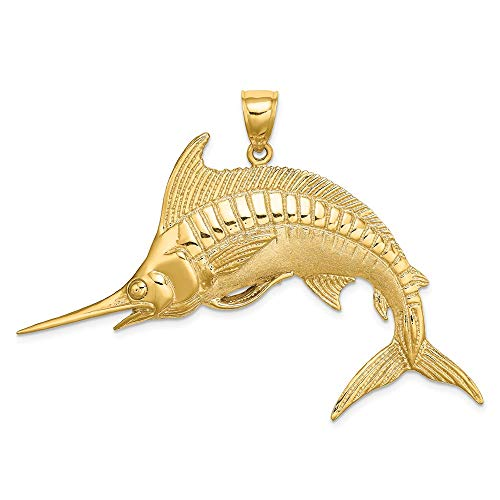 14k Yellow Gold 2-D Polished & Satin Blue Marlin Charm ()
