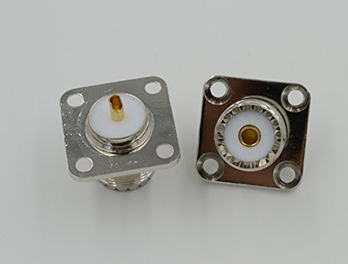 Pure Copper UHF SO239 Female Jack 4holes Panel Chassis Mount Flange Solder Cup Connector 1pcs - Solder Panel