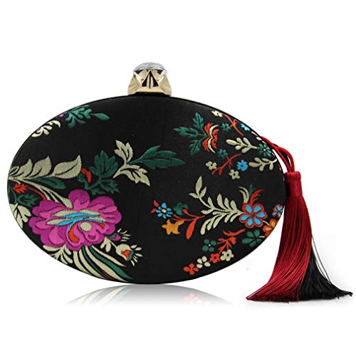 ULKpiaoliang Women Bag Diamond Red Floral Purse Black Embroidery Tassel Evening Wedding Hasp Cocktail Flower Clutch Vintage rr1aHS