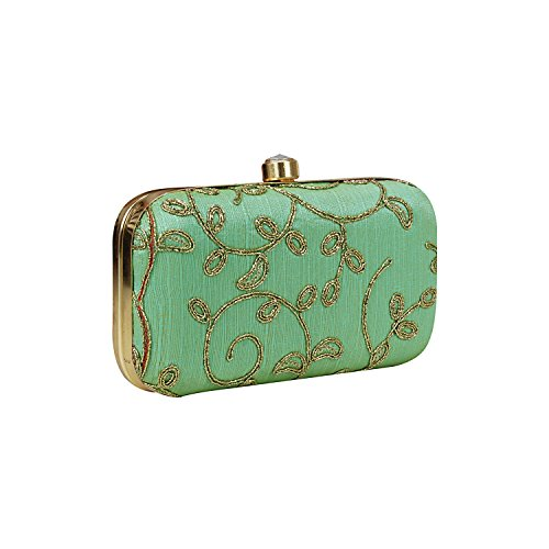 3f056f9e5145 Hand Crafted Designer Box Clutch with Zari Embroidery Work on Silk Texture  Specially Designed for Women   Girls in Parties Wedding festivals Casual  and ...
