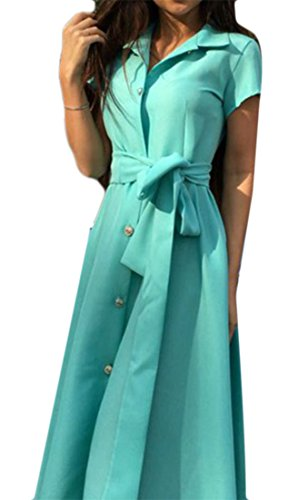 Green Belt Swing Button Short Dress Women's Midi Cromoncent Sleeve Down Elegant WcaZOqS