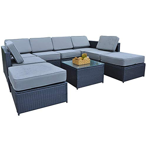 Mcombo Patio Furniture Sectional Wicker Sofa Set All-Weather Outdoor Black Rattan Conversation Chair Set with Thick Cushions(5.12Inch) and Tea Table Black 6085-1009EY (Black Friday Furniture Patio Wicker)