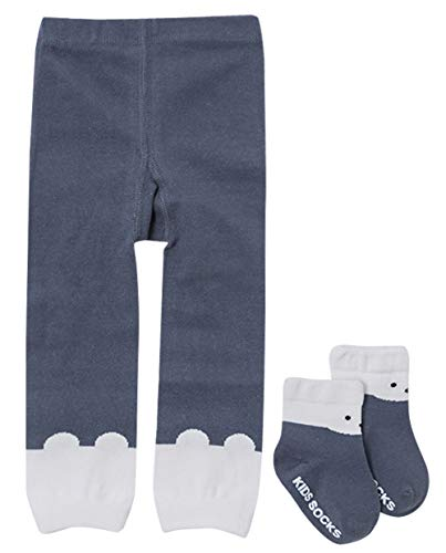 - Infant Toddler Legging Warmers with Socks 2 Piece 100% Cotton Stretched Tights Cute Animals Decorated for Baby Girl White 2-4T