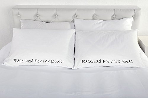 60 Second Makeover Limited Personalised Reserved for Pair of Pillow Cases Gift Wedding Present Engagement Couple Bedding Present Valentines