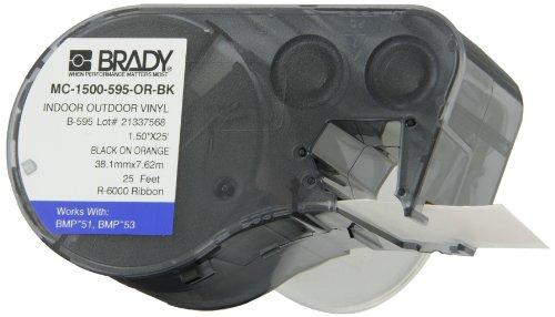 Brady MC-1500-595-OR-BK Vinyl B-595 Black on Orange Label Maker Cartridge, 25' Width x 1-1/2'' Height, For BMP51/BMP53 Printers by Brady