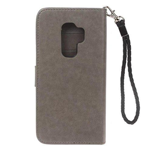Galaxy S9móvil, cowx Teléfono Móvil para Samsung Galaxy S9Funda Piel Flip Case Cartera Funda Carcasa para Samsung S9Funda Cover imitación búho (gris)