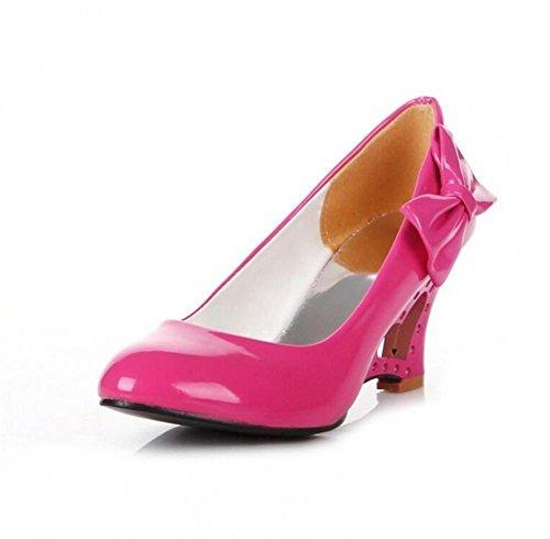 Heel Corte Otoño Tamaño XIE Gran de Color Caramelo de Primavera Wedge de Zapatos PEACHRED Arco y 39 White 37 con Hueco Cuero Liso Zapatos de Solo qzw6Ewx