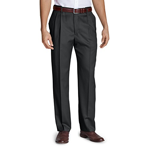 Grey Wool Trousers (Eddie Bauer Men's Relaxed Fit Pleated Comfort Waist Wool Gabardine Trousers, Gra)