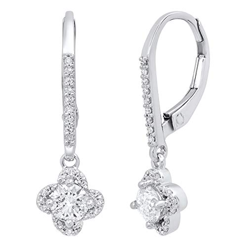 (Dazzlingrock Collection 0.60 Carat (ctw) 10K Round White Diamond Ladies Halo Style Flower Dangling Earrings, White Gold)