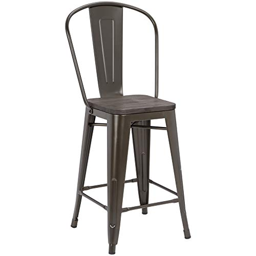 Pioneer Square Midvale 24-Inch Counter-Height Metal Stool with Back Rest, Set of 2, Bygone Bronze