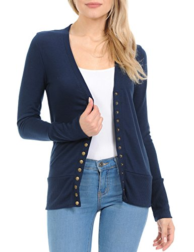 Cardigan Ribbed Trim (Women's Snap Button Sweater Cardigan with Ribbed Detail)
