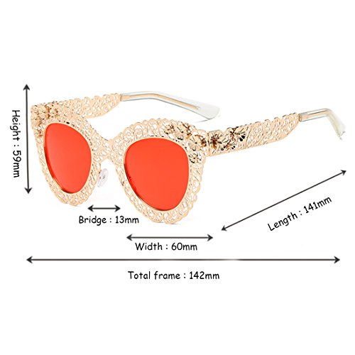 Cat Gafas Golden Trend sol Gafas sol de Gafas retro de Trend sol Frame de Sunglasses decorativas Eye Huicai Red x581TXwqg5