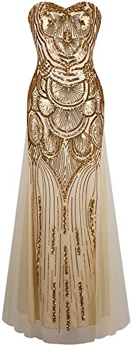 Fashion Sequins (Angel-fashions Women's Sequin Strapless Sweetheart Mesh Lace up Banquet Dress Small)