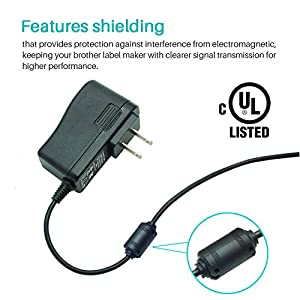 Ac Adapter for Brother P-Touch PT-D210 PTD 210 PT-D200VP PTH110 Label Maker, UL Listed Power Supply Charger for Brother AD-24 AD-24ES AD-20 AD-30 AD-60