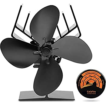 [ 2 Years Warranty ] Eco Wood Stove Fan Heat Powered 4 Blade Log Burner Fan Heat Driven + Fireplace Accessories Magnetic Stove Thermometer Temperature Gauge ...