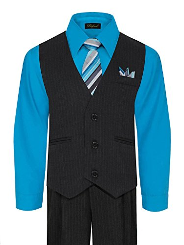 iGirlDress Baby Boys' and Special Occasion Pinstripe Vest Set Black/Vivid Blue 18-24Mos (Suit Pinstripe Shirt)