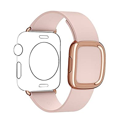 JSGJMY Smart Watch Band 38mm Leather Bracelet Replacement Strap for Smart Watch Sport & Edition (Soft Pink+Rose Gold Buckle, 38MM S)