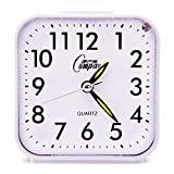 OSMOFUZE Simple Bedroom Alarm Clock, Silent Non Ticking Analog Small Lightweight Alarm Clock