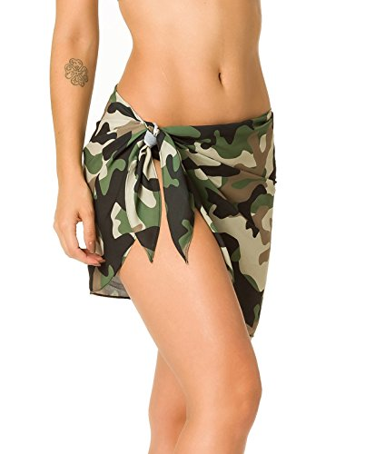 a Swimwear Chiffon Cover up Beach Sarong Pareo Canga Swimsuit Wrap CAMO ()