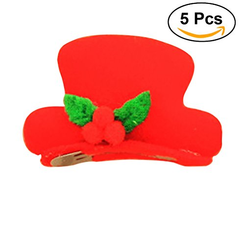 Tinksky 5PCS Novelty LED Light Up Christmas Hat Hair Clip Fun Xmas Accessories Christmas Birthday Gift for friends (Top Hat) ()