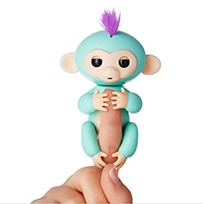 Fingerlings Interactive Baby Monkey Electronic Baby Monkey Zoe Turquiose Green: Toys & Games