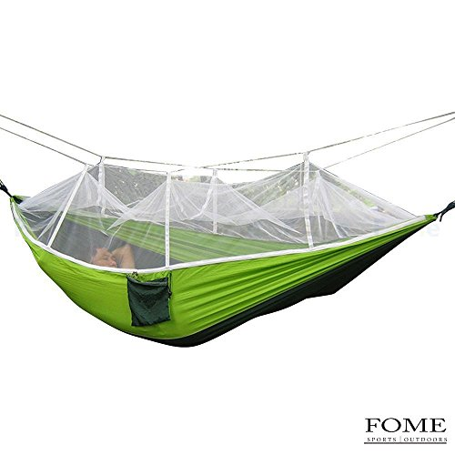Extra High Portable Strength Fabric Mosquito Net Camping Hammock Lightweight Hanging Bed Durable Packable Travel Bed High Resilience Sleeping Bags Camping & Hiking green