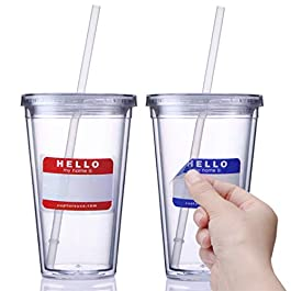 Cupture Classic Insulated Double Wall Tumbler Cup with Lid, Reusable Straw & Hello Name Tags – 16 oz, 2 Pack (clear)