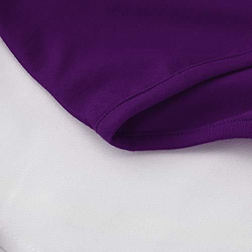 La Largas Mangas Camisas Finas Camisa Luckycat Las Púrpura Impresa Manera Camiseta De Mujeres collar V CaxgwSF