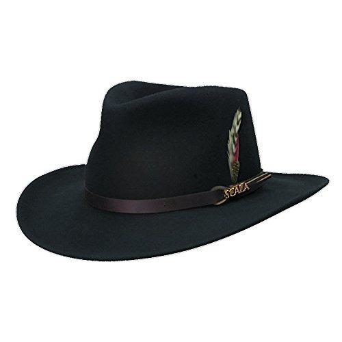 Scala Classico Men's Crushable Felt Outback Hat, Black, X-Large Band Wool Felt Hat