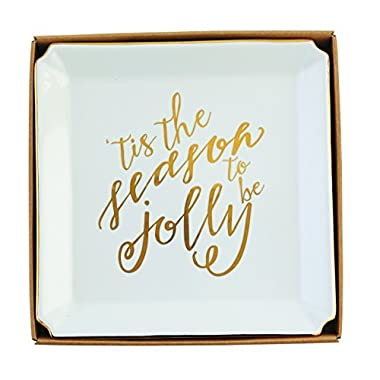 Mud Pie Gold Holiday Platter, White